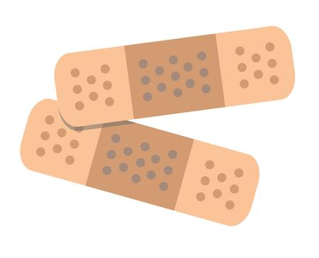 두 개의 접착 붕대 플랫 벡터 일러스트 레이션