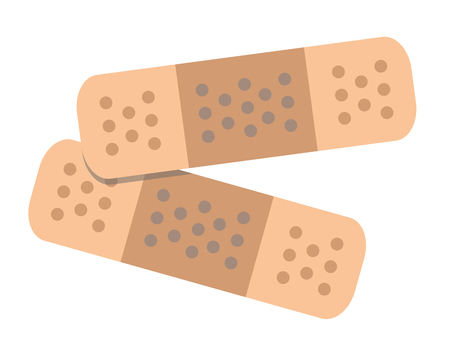 Two Adhesive Bandages Flat Vector Illustration