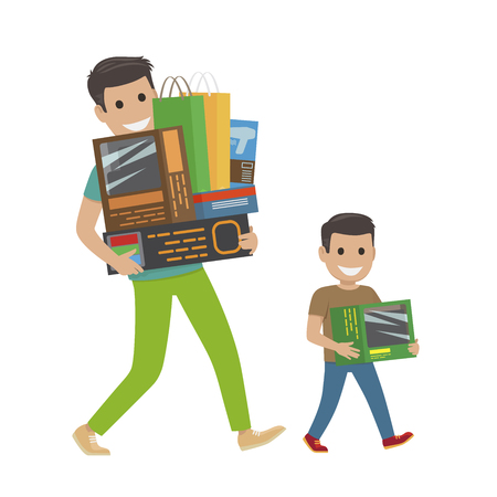 Father and Son Doing Shopping Hold Purchases.