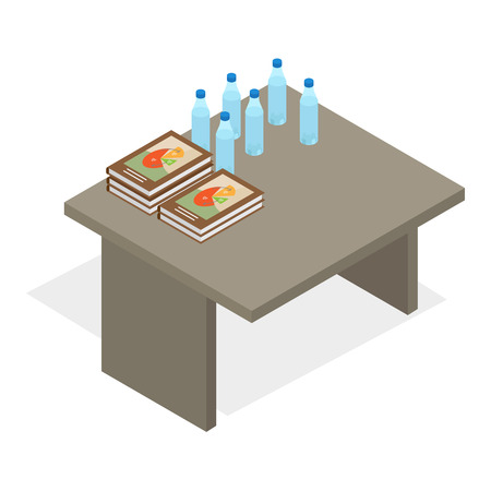 Table with Books and Water Bottles Illustration