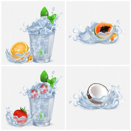 Kalte Getränke mit Früchten und viel Eis Standard-Bild - 86688078