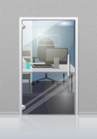 Kantoor Binnenkant Door Glas Deur Vlak Vector