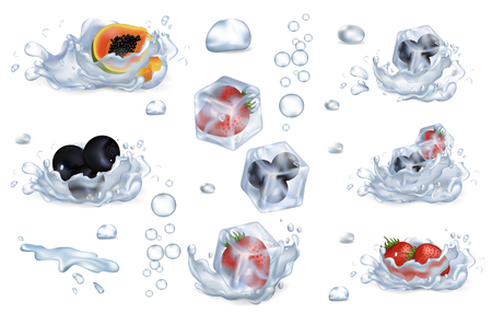 Frozen Berries and Fruits in Water Splashes Set