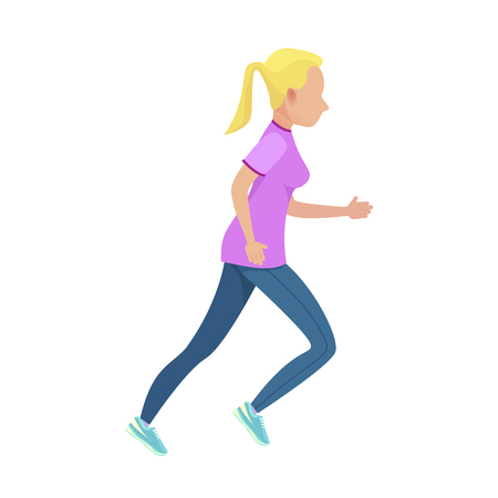 Young Blonde Girl in Slinky Sport Form Running Ilustrace