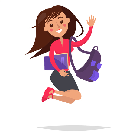 Jumping Girl Student with Backpack and Notebook