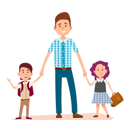 Father Stands and Holds Daughters and Sons Hands Illustration