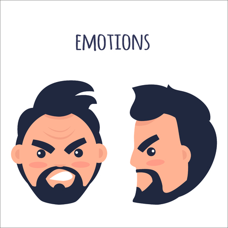 Emotions. Angry Man Face Isolated Illustration Illustration