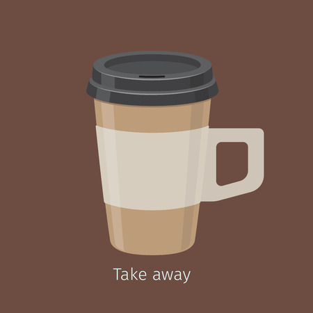 Take Away Coffee in Paper Cup with Lid Flat Vector