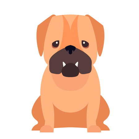 Cute Pug Dog Cartoon Flat Vector Icon