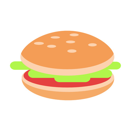Hamburger avec de la viande et de la salade plat vecteur icône Banque d'images - 86688088
