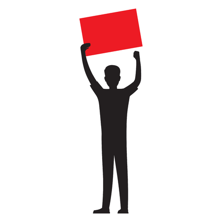 Man Silhouette with Red Paper Sheet Vector