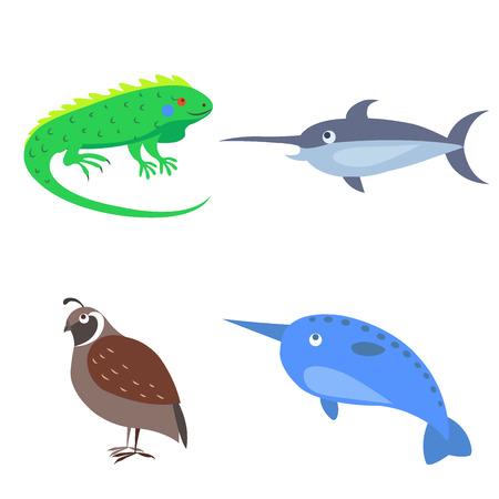子供フラットなデザインの 4 つの野生動物のセット  イラスト・ベクター素材