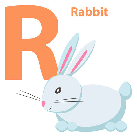 Baby's Engels ABC Letter R met White Rabbit Flat Stock Illustratie