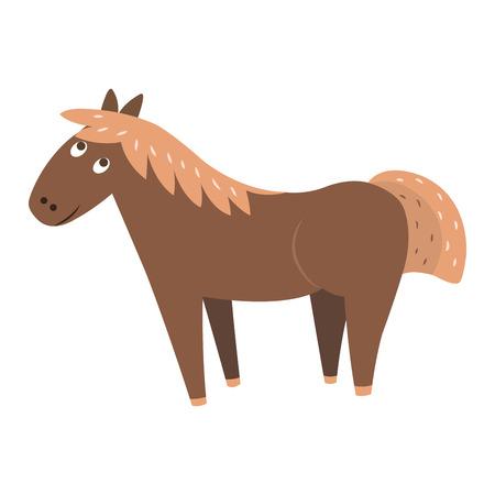 Cute Horse Cartoon Flat Vector Sticker or Icon Ilustração