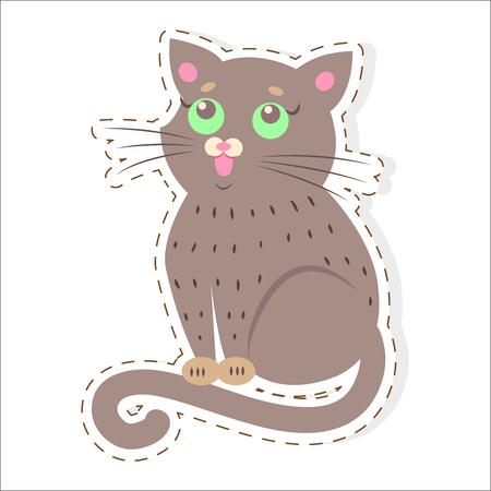 귀여운 고양이 만화 플랫 벡터 스티커 또는 아이콘 스톡 콘텐츠 - 86688094
