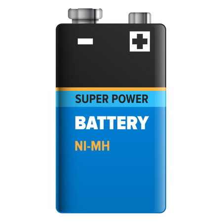 Super Power Battery Isolated on White. Vector