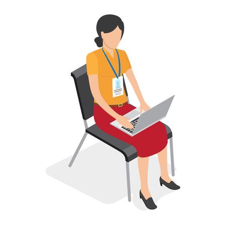 노트북에 앉아서 작업하는 배지와 여성 일러스트