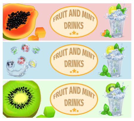 Summer Fruit and Mint Drinks Promotion Poster