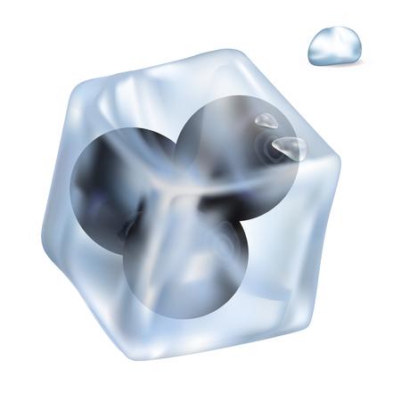 光沢のあるアイス キューブの図にジューシーなブルーベリー