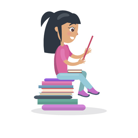 オープン教科書ベクトルとオレンジ色のドレスの女の子