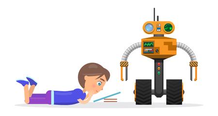 Little Boy Lies and Read Beside Robot Illustration