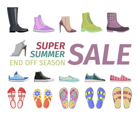 만찬 여름 신발 판매 플랫 벡터 개념