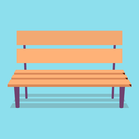 Wooden Bench with Purple Legs on Blue Background Illustration