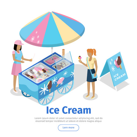 Ice Cream Trolley in Isometric Projection. Vector Illustration