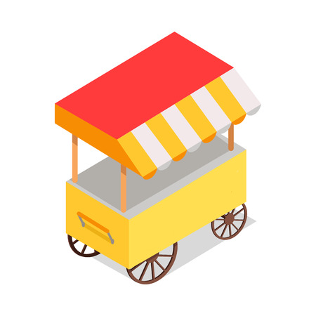 Streetfood Trolley with Tent Isolated illustration