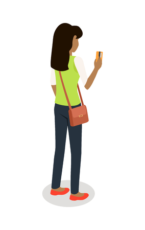 Woman with Credit Card Isometric Vector Icon Illustration