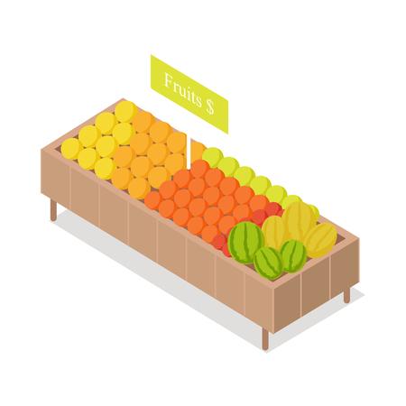 식료품 점에있는 과일은 아이소 메트릭 벡터를 보여줍니다.