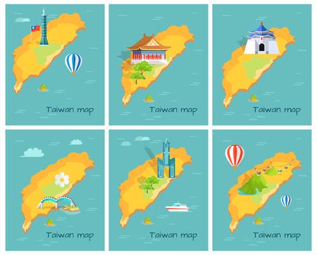 太平洋グラフィックの台湾地図の概念  イラスト・ベクター素材