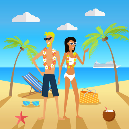 Mensen op vakantie Vector Concept in platte ontwerp Stock Illustratie