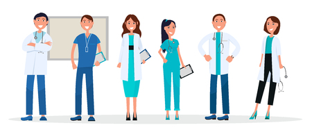 Group of Doctors in Uniform Standing and Smiling Ilustracja