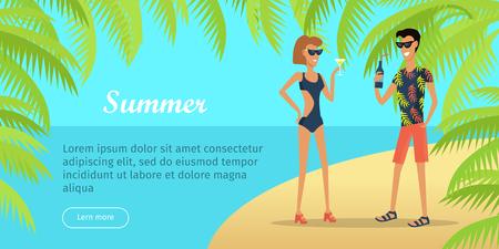夏休みコンセプトフラットベクターウェブバナー