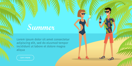 Summer Vacation Conceptual Flat Vector Web Banner 版權商用圖片 - 86688112