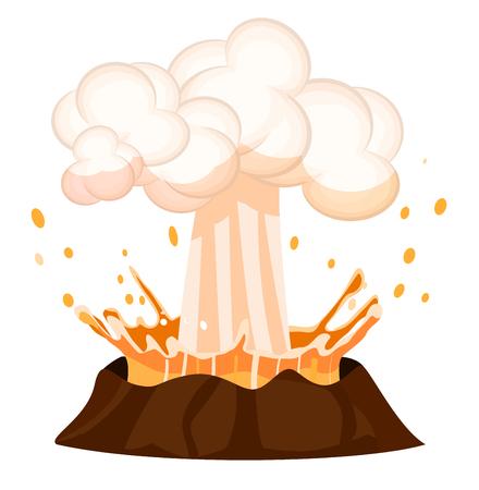 Eruzione di liquidi Drop Spruzzi fuori Burning Volcano Archivio Fotografico - 86788572