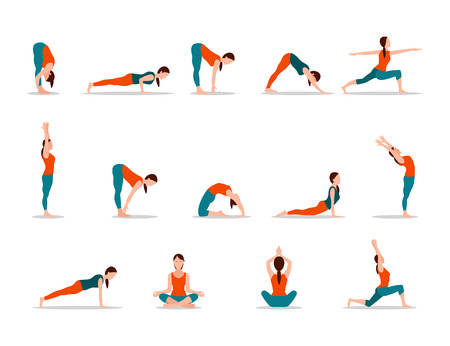 Young Girl Practicing Yoga, Set of Different Poses Vectores