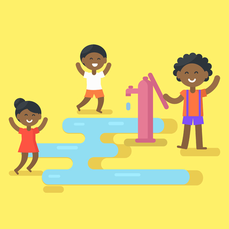 African Children Play with Water Illustration