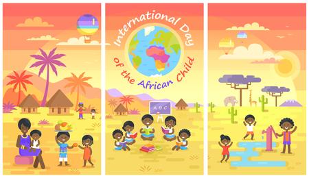 Internationale dag van Afrikaanse kind Posters Set