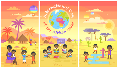 International Day of African Child Posters Set Illustration