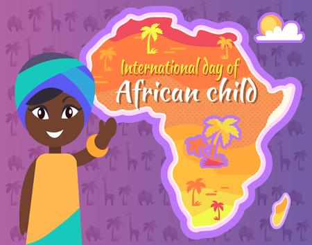 Postal internacional africana del día del niño con Gril Foto de archivo - 86788581