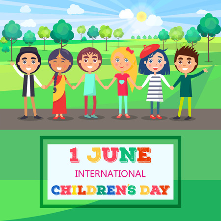 1 giugno Giornata Internazionale dei Bambini Poster dei Bambini Archivio Fotografico - 86788583