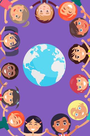 Children Heads and Hands around Earth Planet Иллюстрация