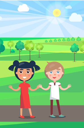 Girl and Boy on Path in Park in Sunny Weather Illustration