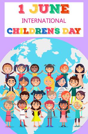 Kindertag Poster mit Kindern auf der Erde Symbol Standard-Bild - 86688124