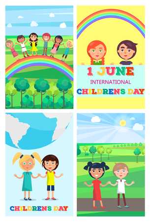 Children s Special Day Colorful Poster of Four