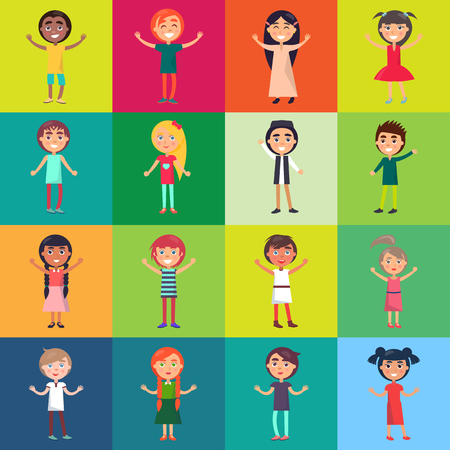 Active Children Isolated on Colorful Backgrounds
