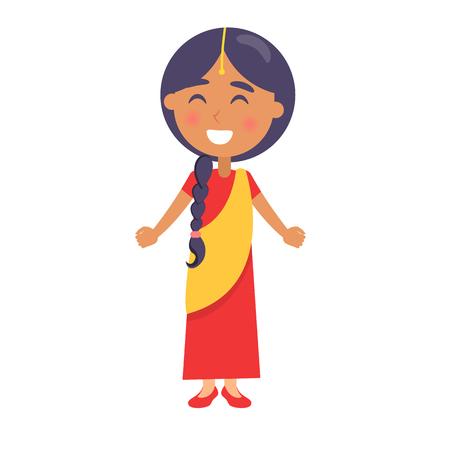 Het Indische Glimlachende Meisje wenst de Dag van Gelukkige Kinderen. Stock Illustratie