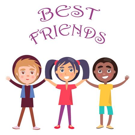 ベスト友人は子供のための休日を祝うベクトル